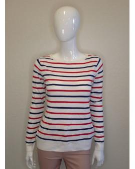 Pulóver Up Fashion biely s červenými a modrými pruhmi, veľ.S