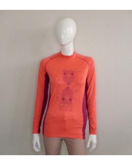 Funkčné tričko Oxylane oranžové s potlačou, veľ.S