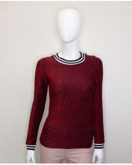 Tričko Noisy May červeno-čierne lesklé, veľ.S