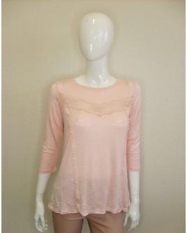 Tričko svetloružové čipkované, veľ.M/L