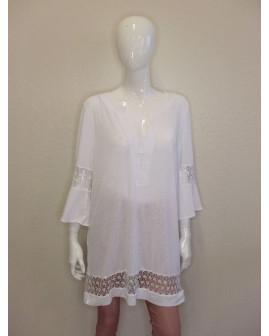 Plážové tričko Maryan Mehlhorn biele s čipkou, veľ.L
