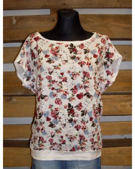 Tričko s´Oliver biele s kvetinkami, veľ.36