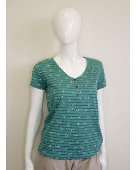 Tričko Gina Benotti zelené prúžkované s bodkami, veľ.36