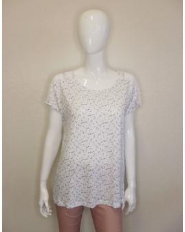Tričko Gina Benotti biele so vzorom, na ramenách sieťovina, veľ.42