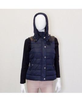 Vesta H&M modrá s kapucňou, koženka na ramenách, zateplená, veľ.38